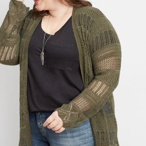 NWT Maurice's Mitered Pointelle Duster Cardigan